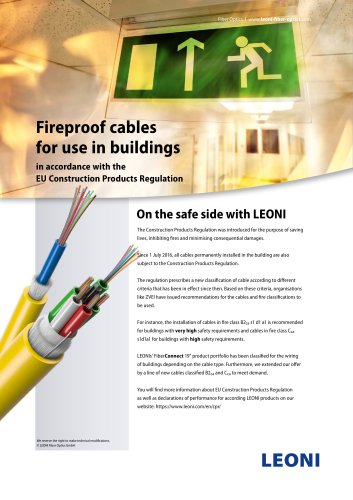 Fireproof cables for use in buildings