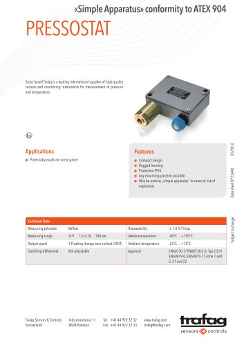 Data Sheet «Simple Apparatus» conformity to ATEX 904