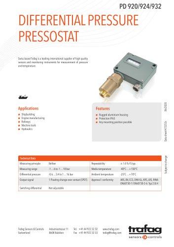 DIFFERENTIAL PRESSURE PRESSOSTAT PD 920/924/932