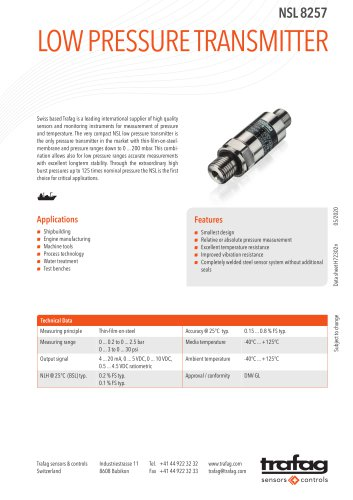 LOW PRESSURE TRANSMITTER NSL 8257
