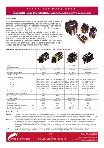 Classic Range Rotary Switches - Cumulative Sequences