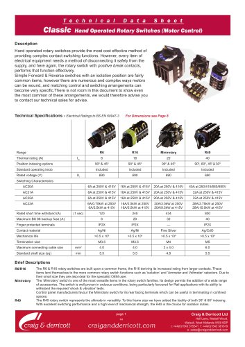 Classic Range Rotary Switches - Motor Control Sequences