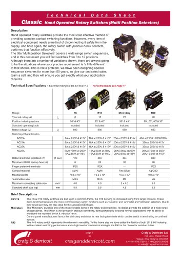 Classic Range Rotary Switches - Multiposition Sequences