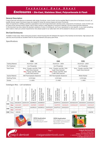 Stand alone enclosures used within this product family