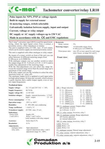 LR10, tachometer converter, selectable ranges