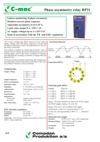 Phase asymmetry relay RP31