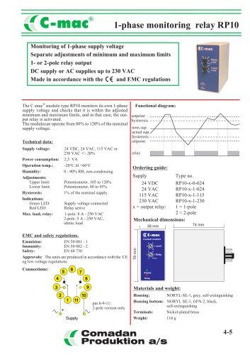 RP10, 1-phase monitoring