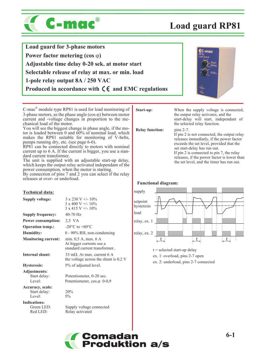 Rp81 3 Phase Angle Relay Comadan Pdf Catalogue Current Level 1 2 Pages