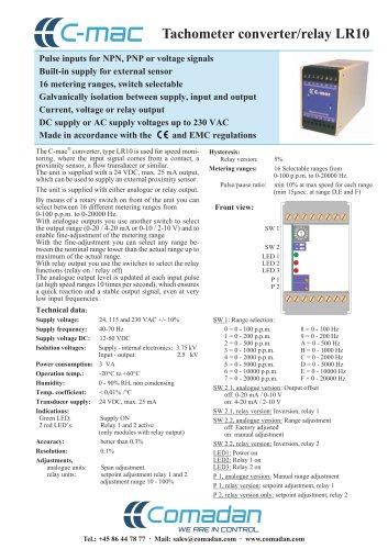 Tachometer converter/relay LR10