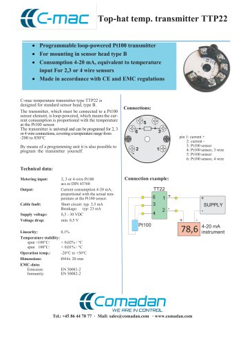 Top-hat temp. transmitter TTP22