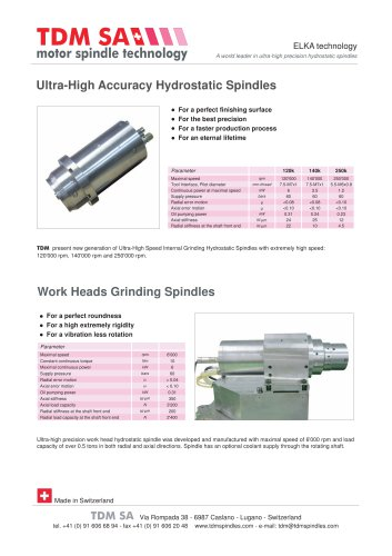 Ultra-High Accuracy Hydrostatic Spindles