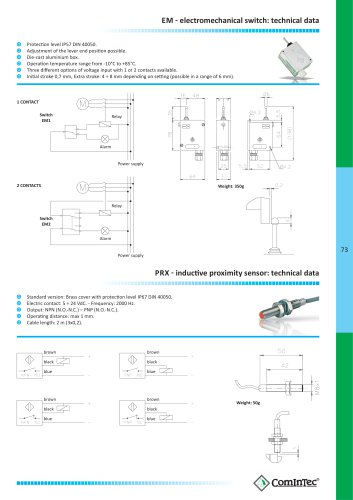 73 EM  ͳ  electromechanical switch: technical data