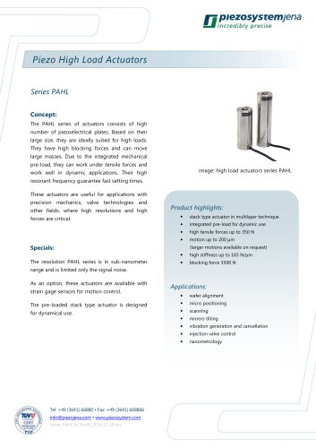 High load stack type actuator series PAHL