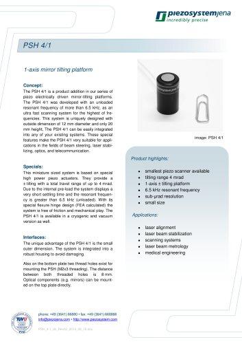 Piezo mirror tilting and scanning platform PSH 4/1