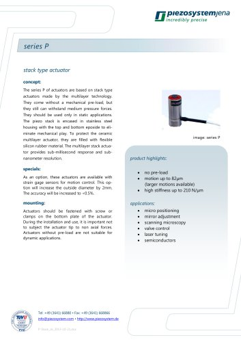 Stack type actuators series P