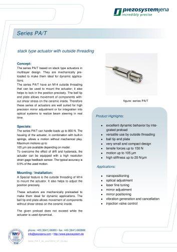 Stack type actuators series PA/T