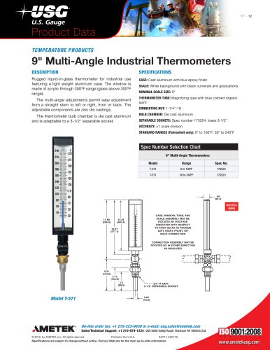 "9"" Multi-Angle Industrial Thermometers"