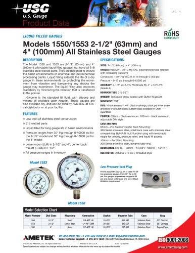 LIQUID FILLED GAUGES Models 1550/1553 2-1/2