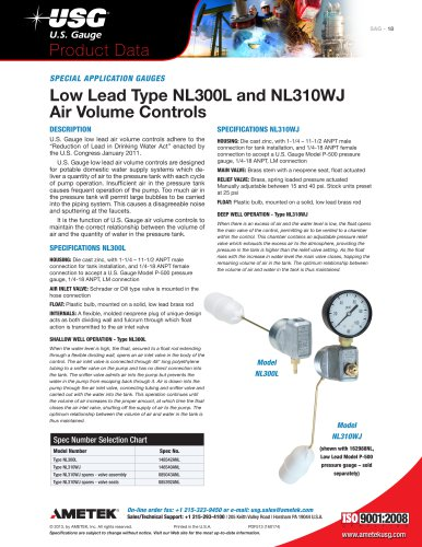 Low Lead Type NL300L and NL310WJ Air Volume Controls