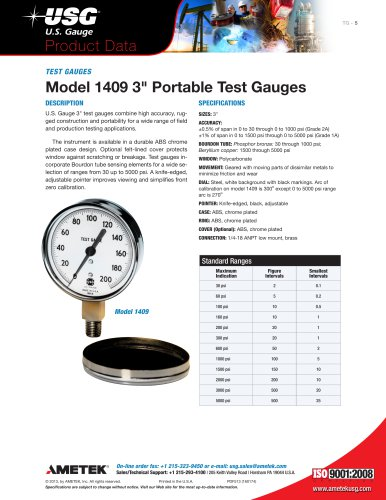 "Model 1409 3"" Portable Test Gauges"