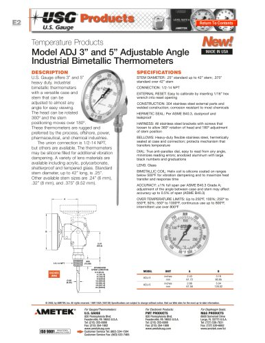 Model ADJ Adjustable Bimetallic Thermometers