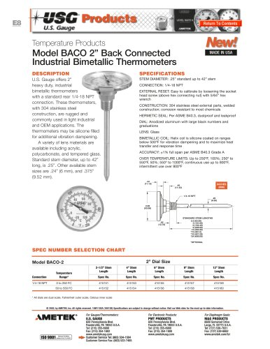Model BACO Bimetallic Thermometers
