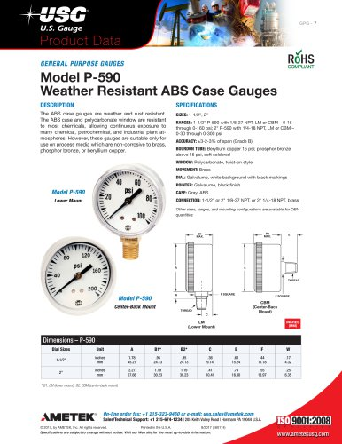 Model P-590 Weather Resistant ABS Case Gauges