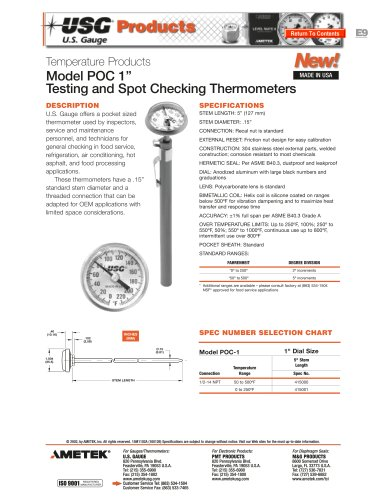 Model POC Testing Thermometers