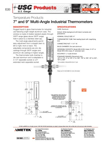 Multi-Angle Industrial Thermometers