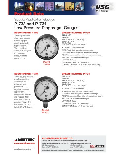 P-733 and P-734 Low Pressure Diaphragm Gauges