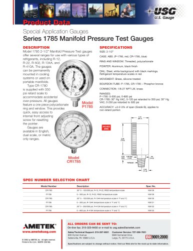 Series 1785 Manifold Pressure Test Gauges