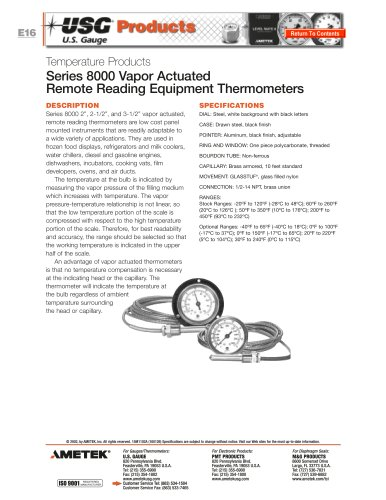 Series 8000 Vapor Actuated Thermometers