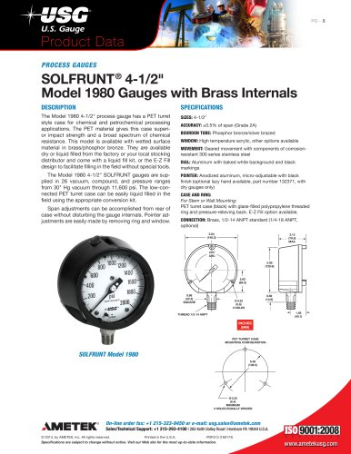 "SOLFRUNT® 4-1/2"" Model 1980 Gauges with Brass Internals"