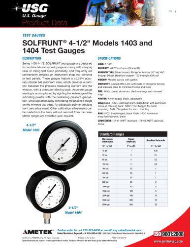 "SOLFRUNT® 4-1/2"" Models 1403 and 1404 Test Gauges"