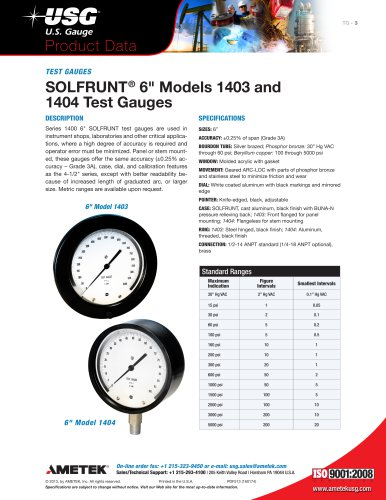 "SOLFRUNT® 6"" Models 1403 and 1404 Test Gauges"