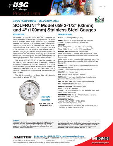 "SOLFRUNT® Model 659 2-1/2"" (63mm) and 4"" (100mm) Stainless Steel Gauges"