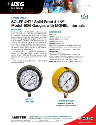 "SOLFRUNT® Solid Front 4-1/2"" Model 1986 Gauges with MONEL Internals"