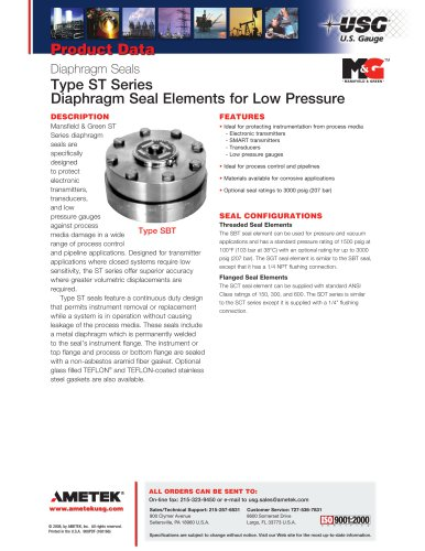 Type ST Series Diaphragm Seal Elements for Low Pressure