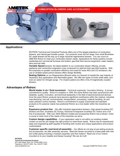 Combustion Blowers And Accessories