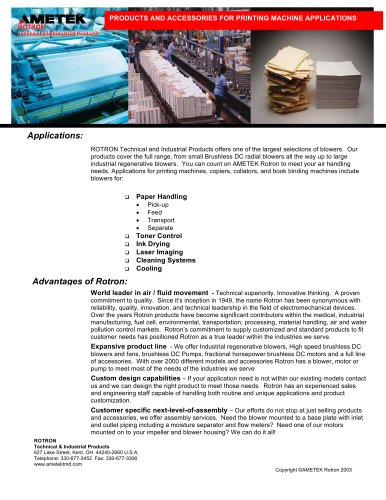 Products And Accessories For Printing Machine Applications