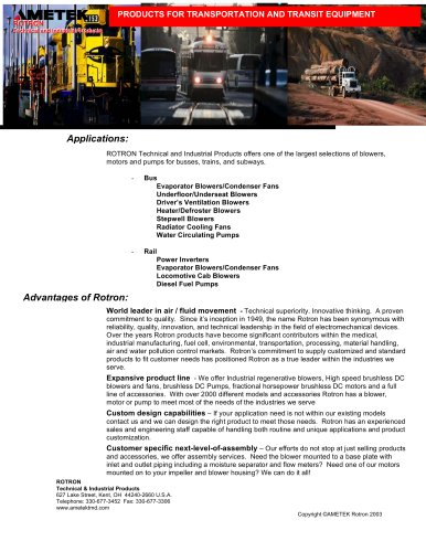 Products For Transportation And Transit Equipment