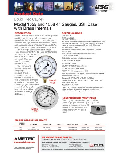 1555 and 1558 4? Gauges, SST Case with Brass Internals