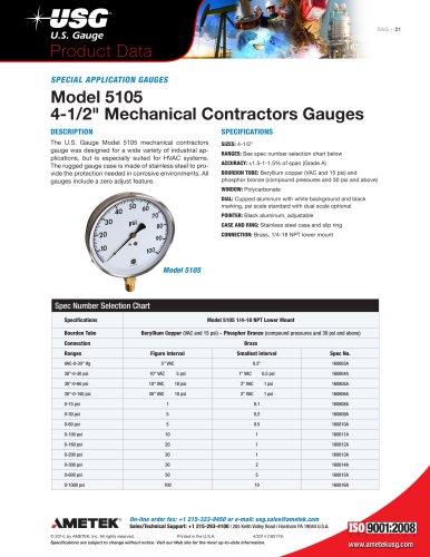 5105 Mechanical Contractor's Pressure Gauge