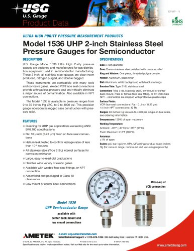 Model 1536 UHP 2-inch Stainless Steel Pressure Gauges for Semiconductor