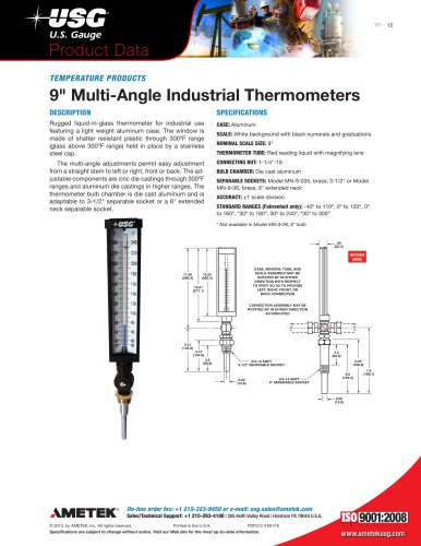 """"""" Multi-Angle Industrial Thermometers"""