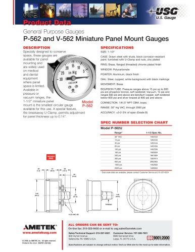 P-562 and V-562 Miniature Panel Mount Gauges
