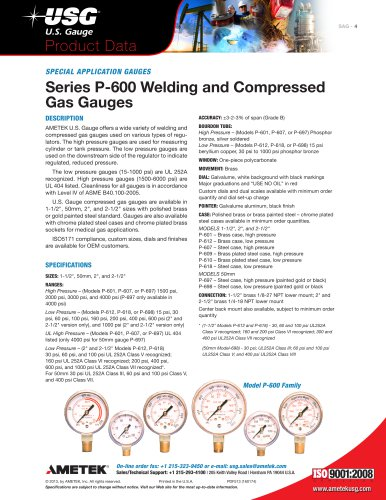 Series P-600 Welding and Compressed Gas Gauges