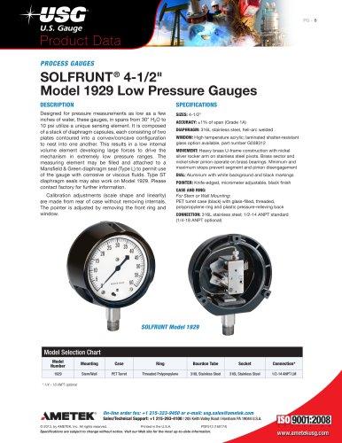 "SOLFRUNT® 4-1/2"" Model 1929 Low Pressure Gauges"