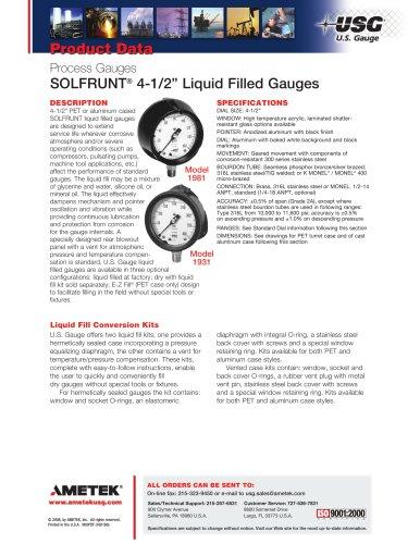 SOLFRUNT4.5in Liquid Filled Gauges
