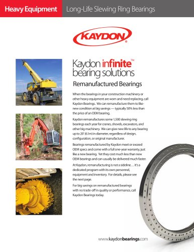 Remanufactured Bearings by Kaydon for Heavy Equipment